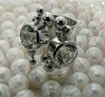 Silverring med bergskristaller